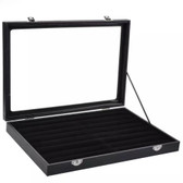 Glass-Top Ring Velvet Insert Slot Display Case Black