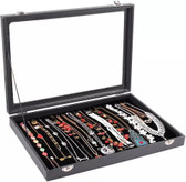 Glass-Top Necklace Bracelet Chain Display Case Tray Black