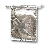 """100 Metallic Fabric Bag Jewelry Gift Pouch Silver 5X7"""""""
