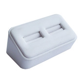 Ring Display Stand 2 Slot Ramp White Leather