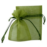 """100 Organza Jewelry Bag Gift Pouch Olive Green 2.75x3.5"""""""