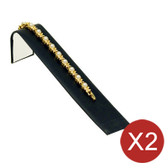 "2 Bracelet Chain Watch Display Ramp Black Leather 8""L"