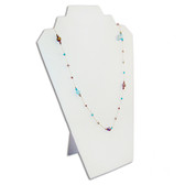 """Double Necklace Display Easel (Wood Backing)12.5""""H White Leather"""