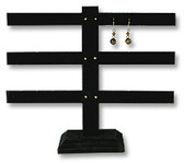Earring T-Bar(30pairs) Display Stand Black Velvet