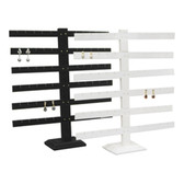 Earring T-Bar(72pairs) Display Stand White Leather