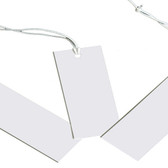 "100 Tie-On String Price Label Tag White Rectangle 1 3/4"" Plain"