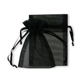 "100 Organza Jewelry Bag Gift Pouch Black 4X6"""
