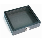 Half Size Glass-Top Jewelry Display Case Black