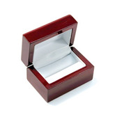 Rosewood Leather Double Ring Cufflink Box