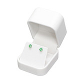Round Corner Leather Earring Jewelry Gift Box White
