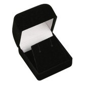 12 Flocked Velour Earring Jewelry Gift Box Black