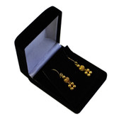 12 Flocked Velour Pendant Earring Gift Box Black