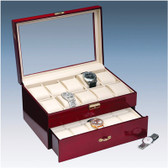 Glass-top Rosewood Watch Display Case (20-watch)