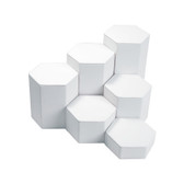 Large 6-Pc Faux Leather Hexagon Riser Set White