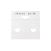 "100 Plastic French Clip Earring Hanging Card 2""x2"" White STERLING SILVER"
