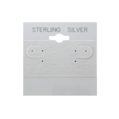 100 Plastic Earring Hanging Card Sign 2x2 Grey STERLING SILVER
