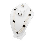"""Padded Necklace Earring Ring Set Combo Display 11""""H White Leather"""