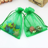 """100 Organza Jewelry Bag Gift Pouch Green 3x4"""""""