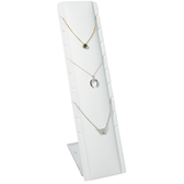 Pendant Necklace Chain Display Adjustable Stand White Leather