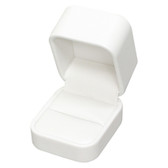 Round Corner Leather Ring Jewelry Gift Box White