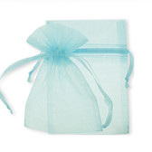 """100 Organza Jewelry Bag Gift Pouch Light Blue 4X6"""""""