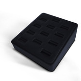 Ring Display Tray 12 Slot Ramp Black Leather