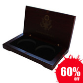 Coin Case Rose Wood Box for 2 Eagle Silver Coins
