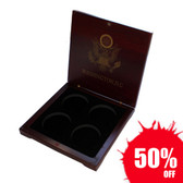 Coin Case Rose Wood Box for 4 Eagle Silver Coins