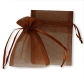 """100 Organza Jewelry Bag Gift Pouch Brown 4X6"""""""