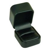 Round Corner Leather Ring Jewelry Gift Box Black