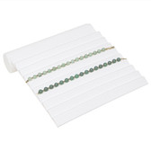 Slotted Bracelet Chain Display Ramp Leatherette White