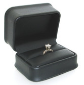 Round Corner Leather Double Ring  Cufflink Gift Box Black