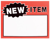 "50 Large Paper Price Sign ""NEW ITEM"" 5.5x7"""