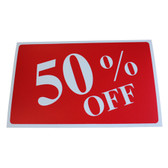 "Large Plastic Sign ""50% OFF"" 11x7"""