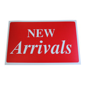 "Large Plastic Sign ""NEW ARRIVALS"" 11x7"""