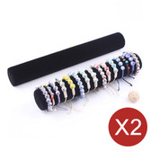 2 Bracelet Bangle Chain Display Bar Tube Black Velvet