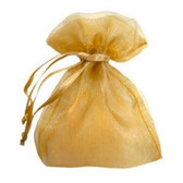 100 Organza Jewelry Bag Gift Pouch Gold 5X7""