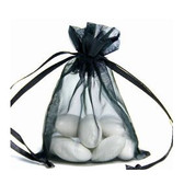 "100 Organza Jewelry Bag Gift Pouch Black 5x7"""