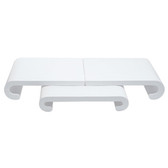 Large 3-Piece Curved Base Set White Leather