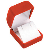 12 Flocked Velour Earring Jewelry Gift Box Red
