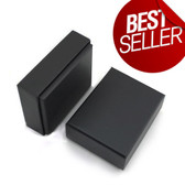 "100 Jewelry Box 3 1/8"" x 2 1/4"" x 1""H (Cotton-Filled) Black Linen"