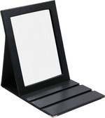 Faux Leather Folding Glass Mirror Black