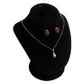 "Padded Necklace Earring Set Combination Display 7""H Black Velvet"