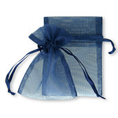 """100 Organza Jewelry Bag Gift Pouch Navy Blue 4X6"""""""