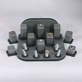 Jewelry Display Showcase 18-Piece Ring Set Steel Grey