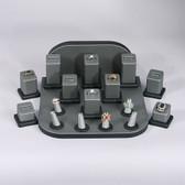 Jewelry Display Showcase 18-Piece Ring Set Steel Grey
