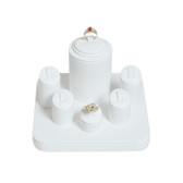 Jewelry Display Showcase 6-Ring Set White