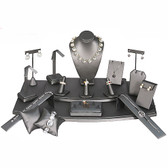 Jewelry Showcase 18-Piece Set Steel Grey