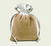 "10 Velvet Bag Gift Pouch 2"" X 2 3/4"" Beige  w/Silver Top"