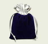 "10 Velvet Bag Gift Pouch 2"" X 2 3/4"" Blue  w/Silver Top"